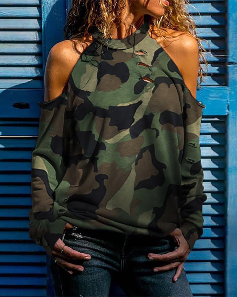 ivrose / Camuflagem Cold Shoulder Distress Design Blusa Casual