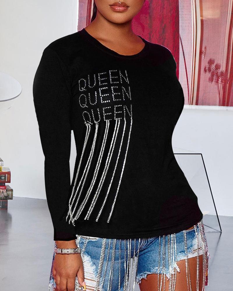 Letter Studded Tassel Design Long Sleeve T-Shirt фото