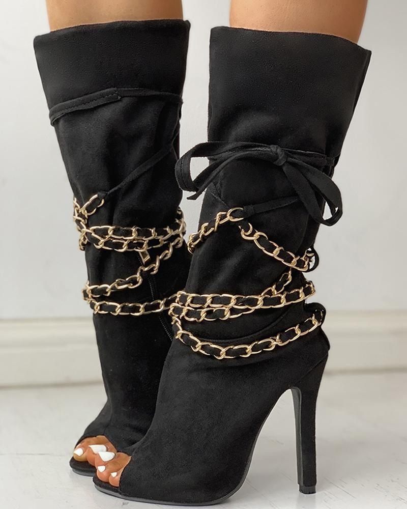 chicme / Chain Design Peep Toe Thin Heeled Boots