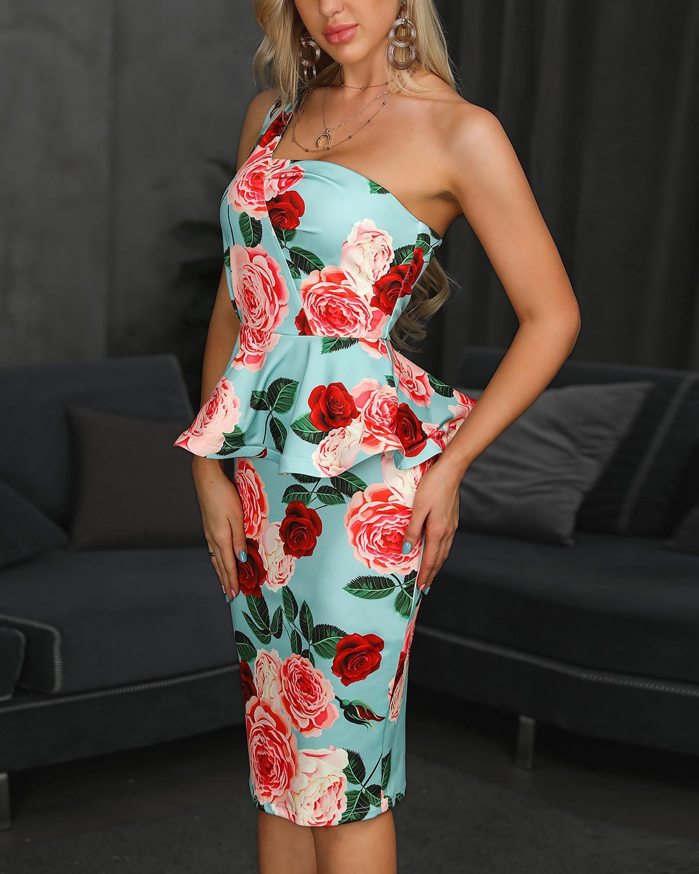 One Shoulder Floral Peplum Bodycon Dress