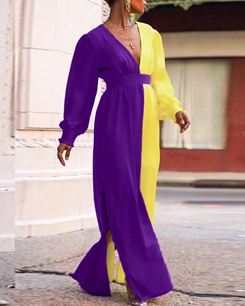 Colorblock Lantern Sleeve Maxi Dress фото