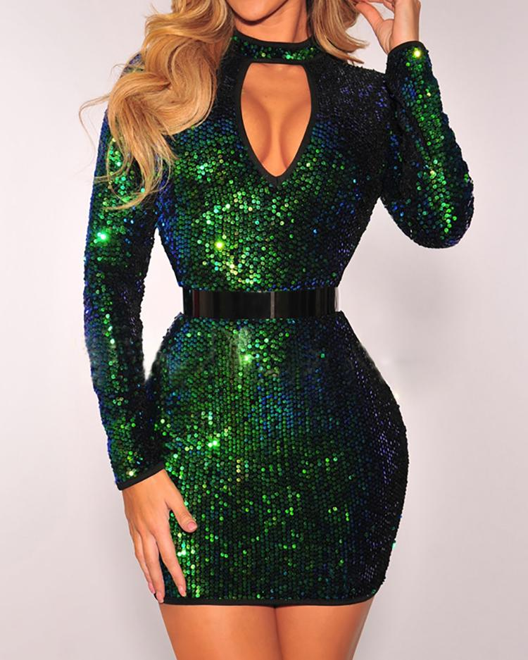 Sexy Sequins Cut Out Choker Bodycon Dress фото