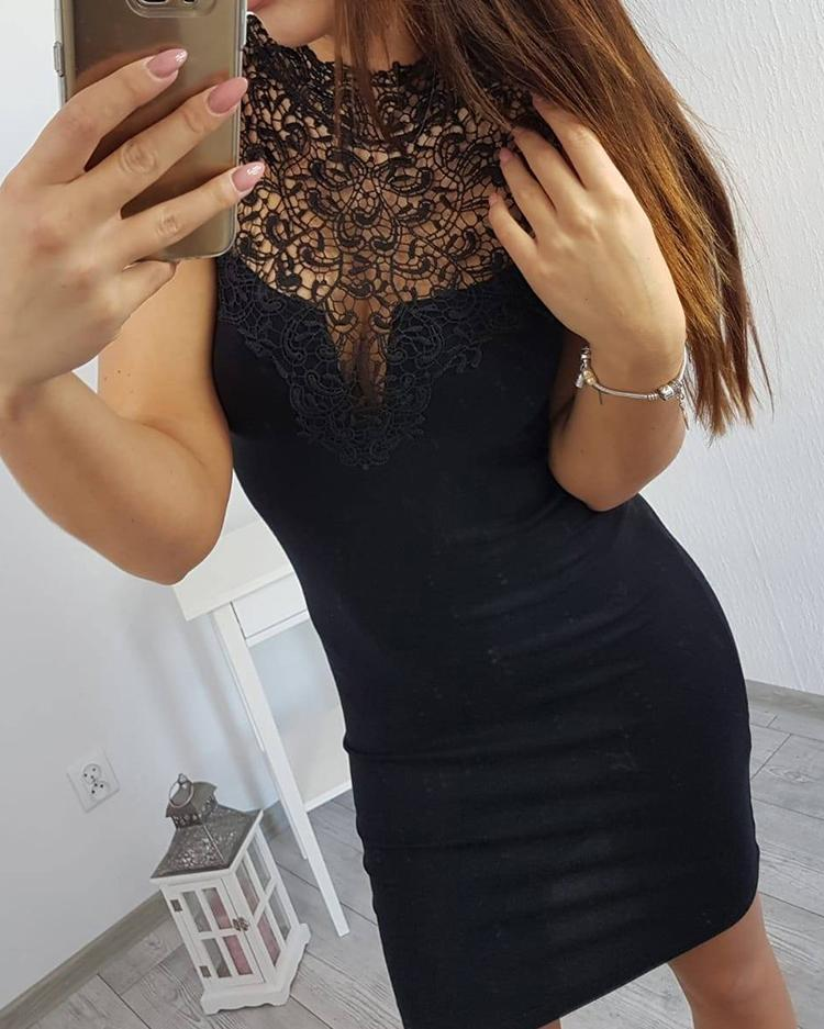 Lace Yoke Sleeveless Bodycon Dress