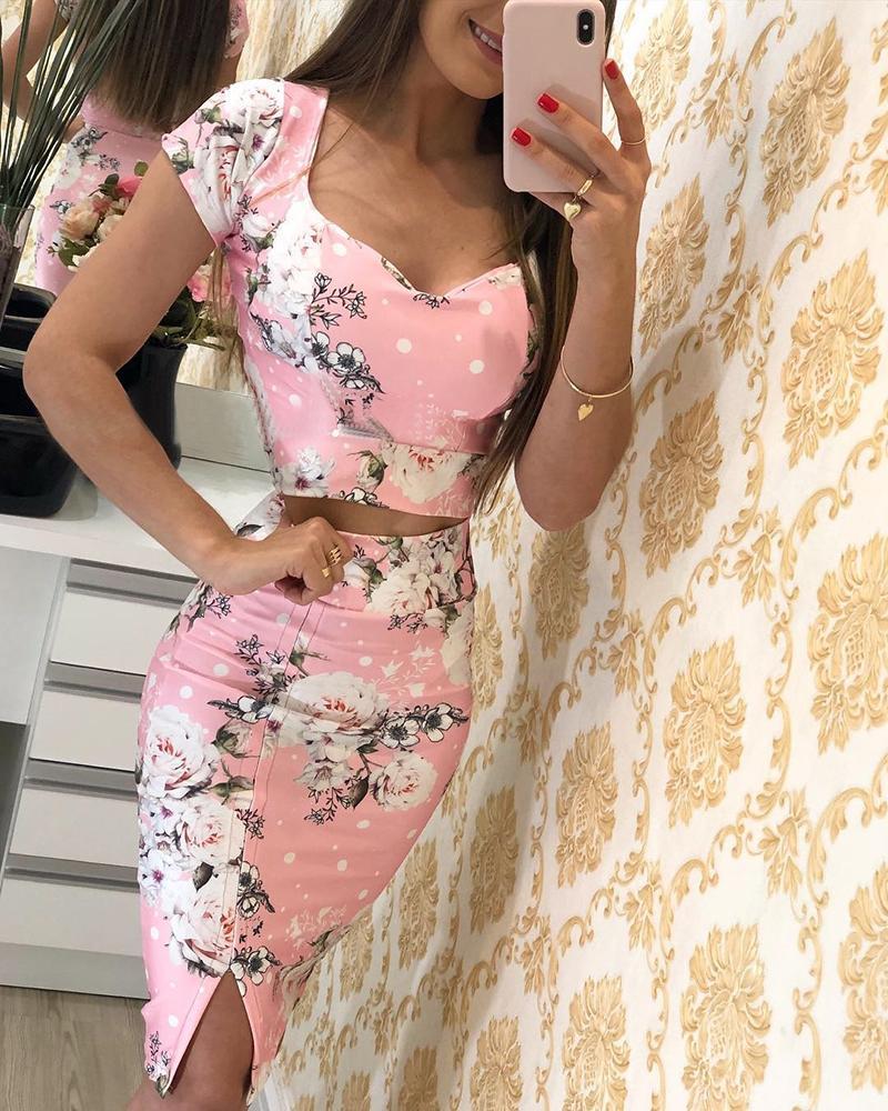 Floral Print Short Sleeve Top & Skirt Sets фото