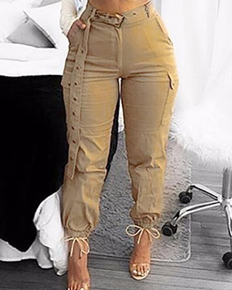 ivrose / Pantalones con puños de diseño de bolsillo de cintura alta sólidos