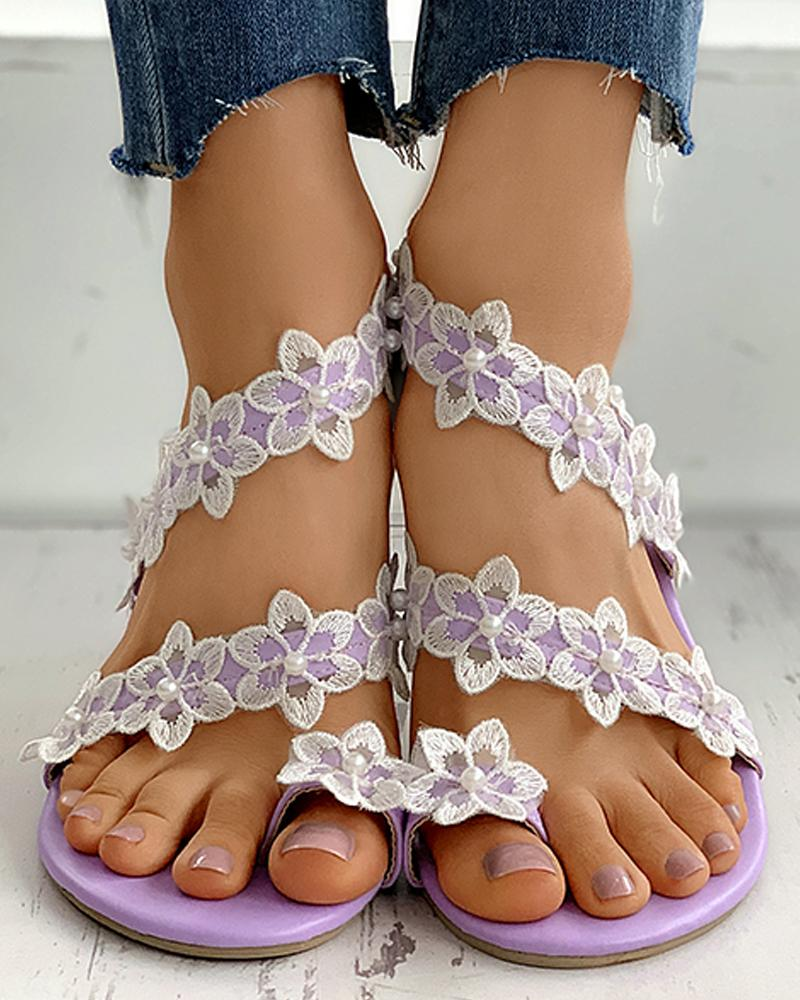 Floral Embroidery Beaded Toe Ring Flat Sandals фото