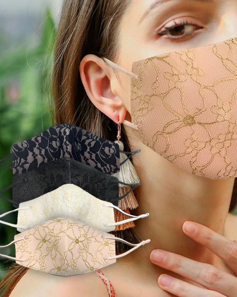 Lace Insert Breathable Ear Loop Mouth Mask Reusable фото