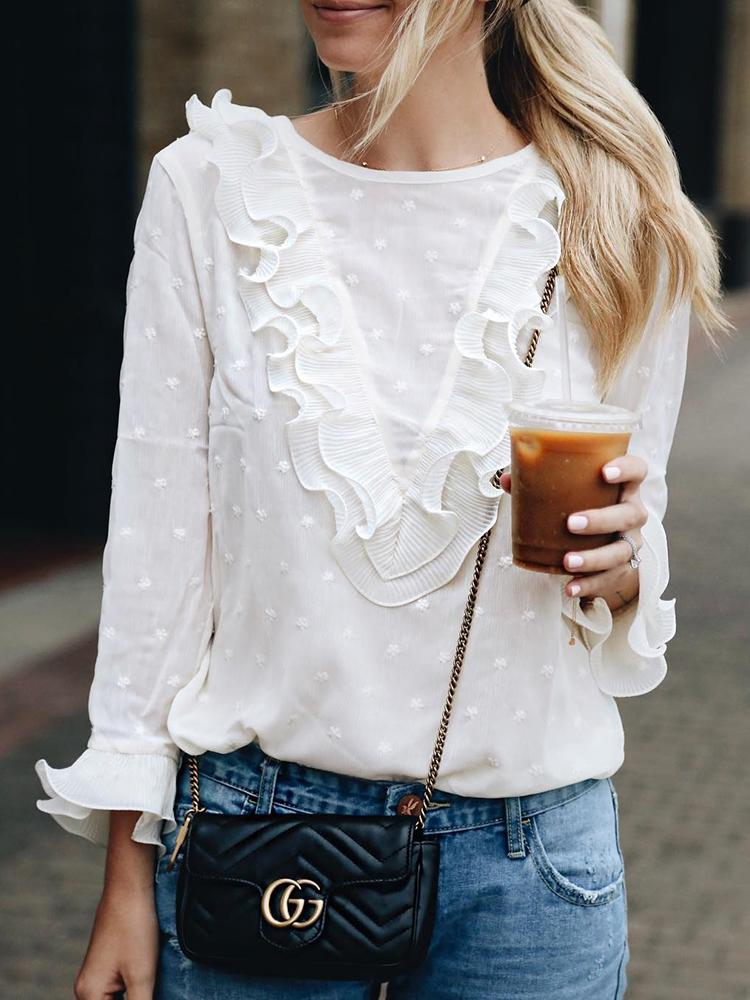 Lace Ruffles Flare Sleeve Casual Blouse фото