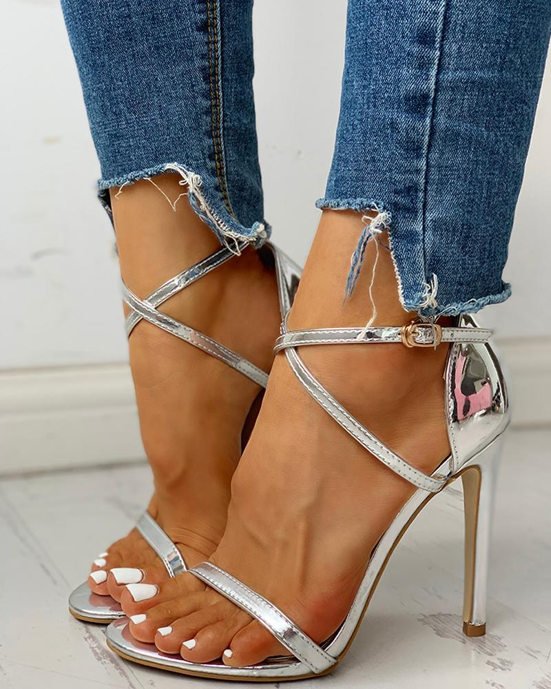 Glitter Multi-strap Ankle Buckled Thin Heeled Sandals, Silver