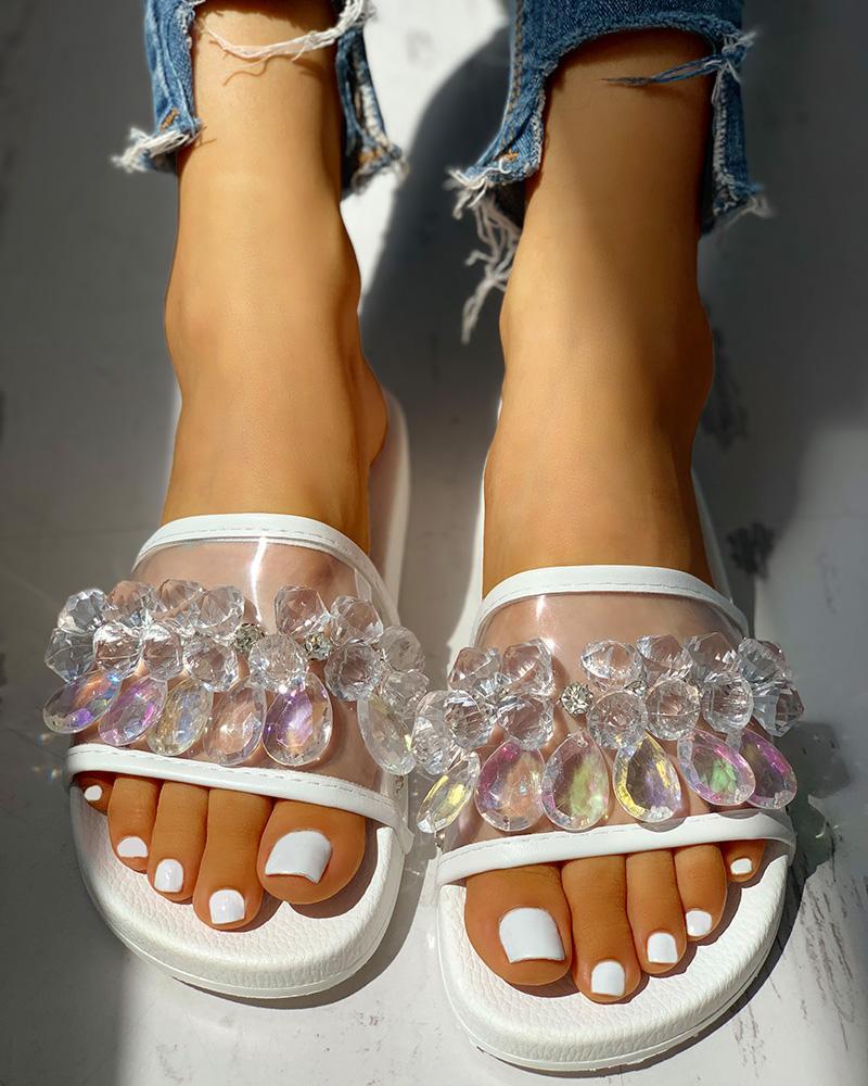 Transparent Studded Design Flat Sandals фото
