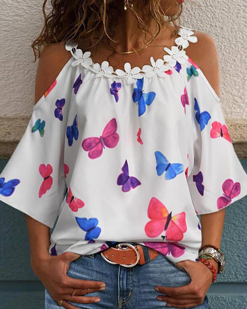 Floral Applique Butterfly Print Cold Shoulder Top фото