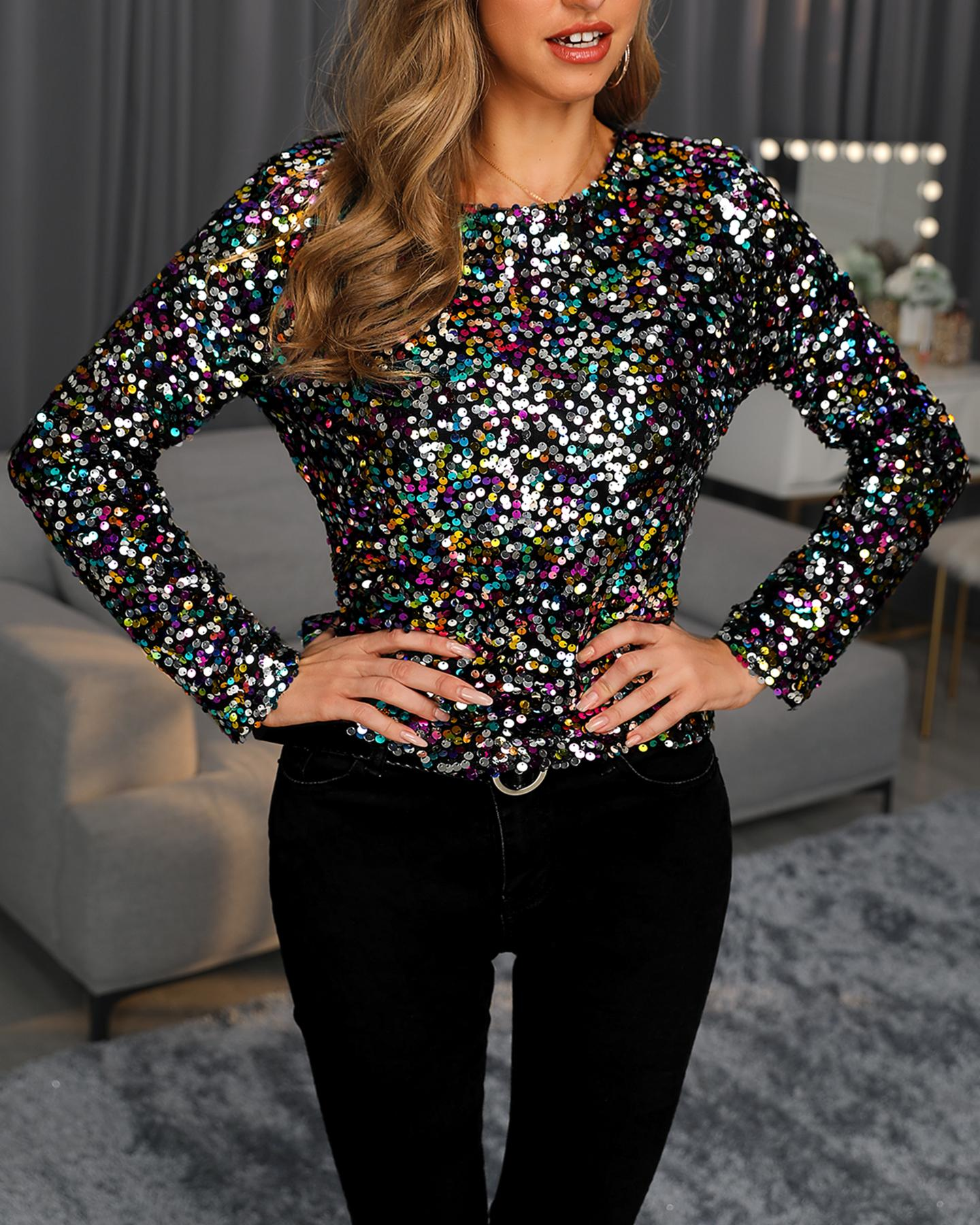 Colorful Sequins Long Sleeve Top фото