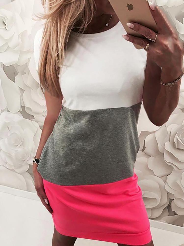 Short Sleeve Colorblock Casual Dress фото