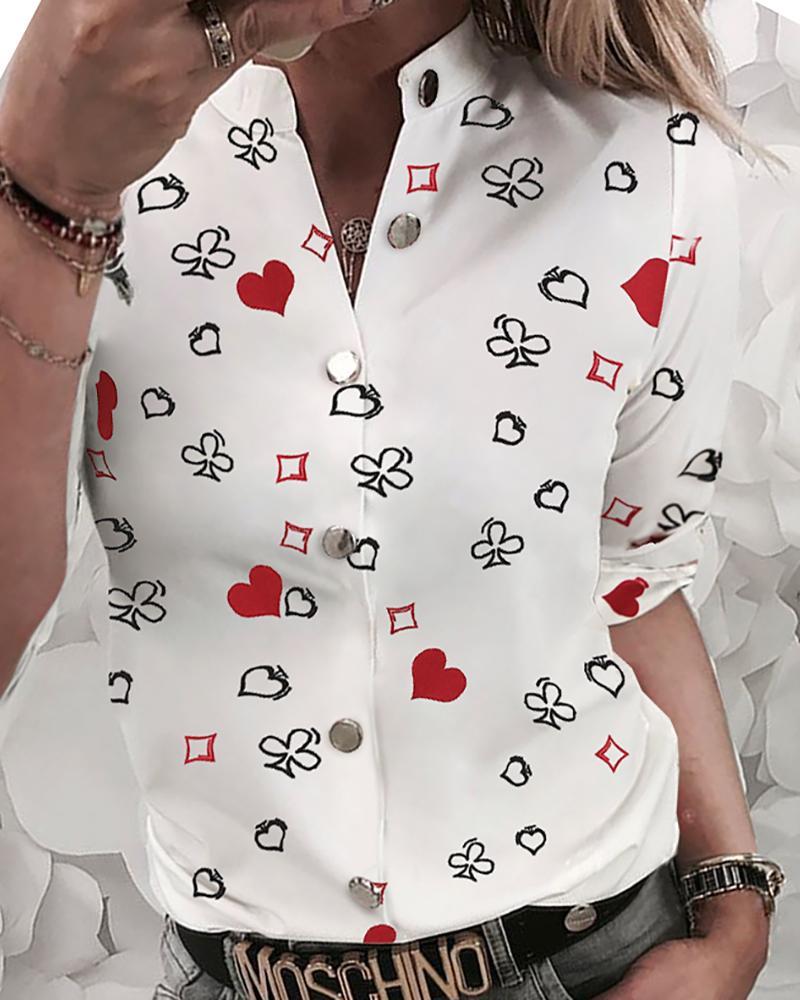 chicme / Camisa impressa abotoada do projeto do coração