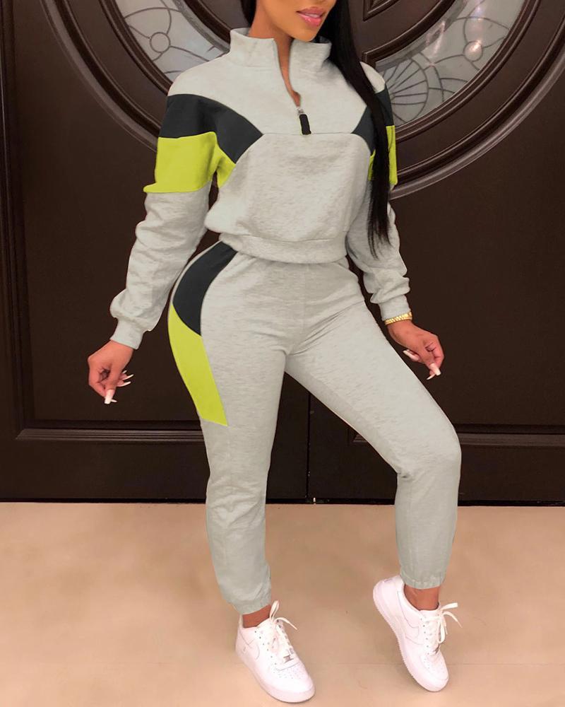 boutiquefeel / Colorblock Zip Top & Drawstring Pants Set