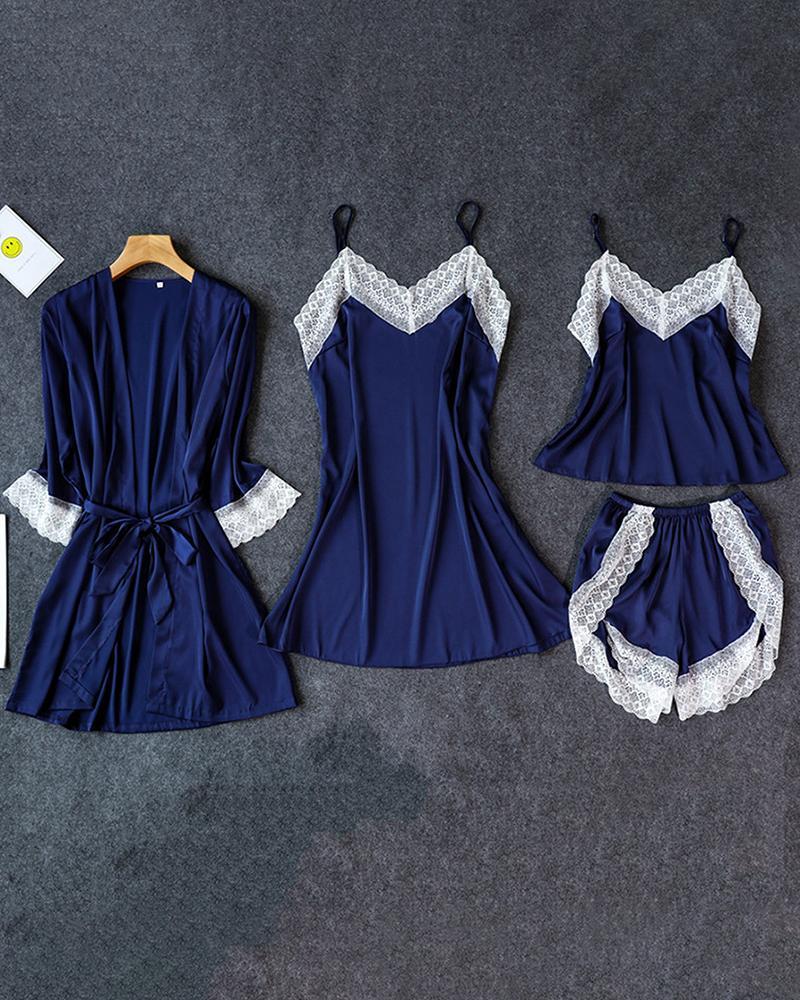 Satin Lace Trim 4PCS Sleepwear Sets фото