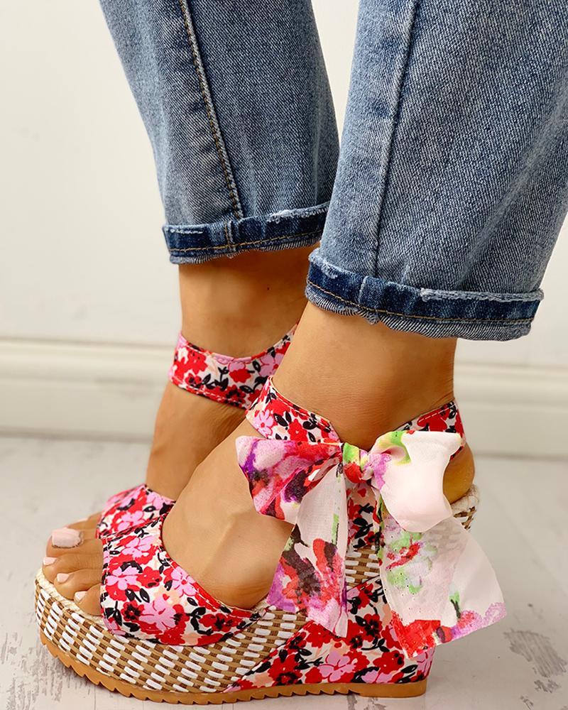 Floral Bowknot Design Platform Wedge Sandals
