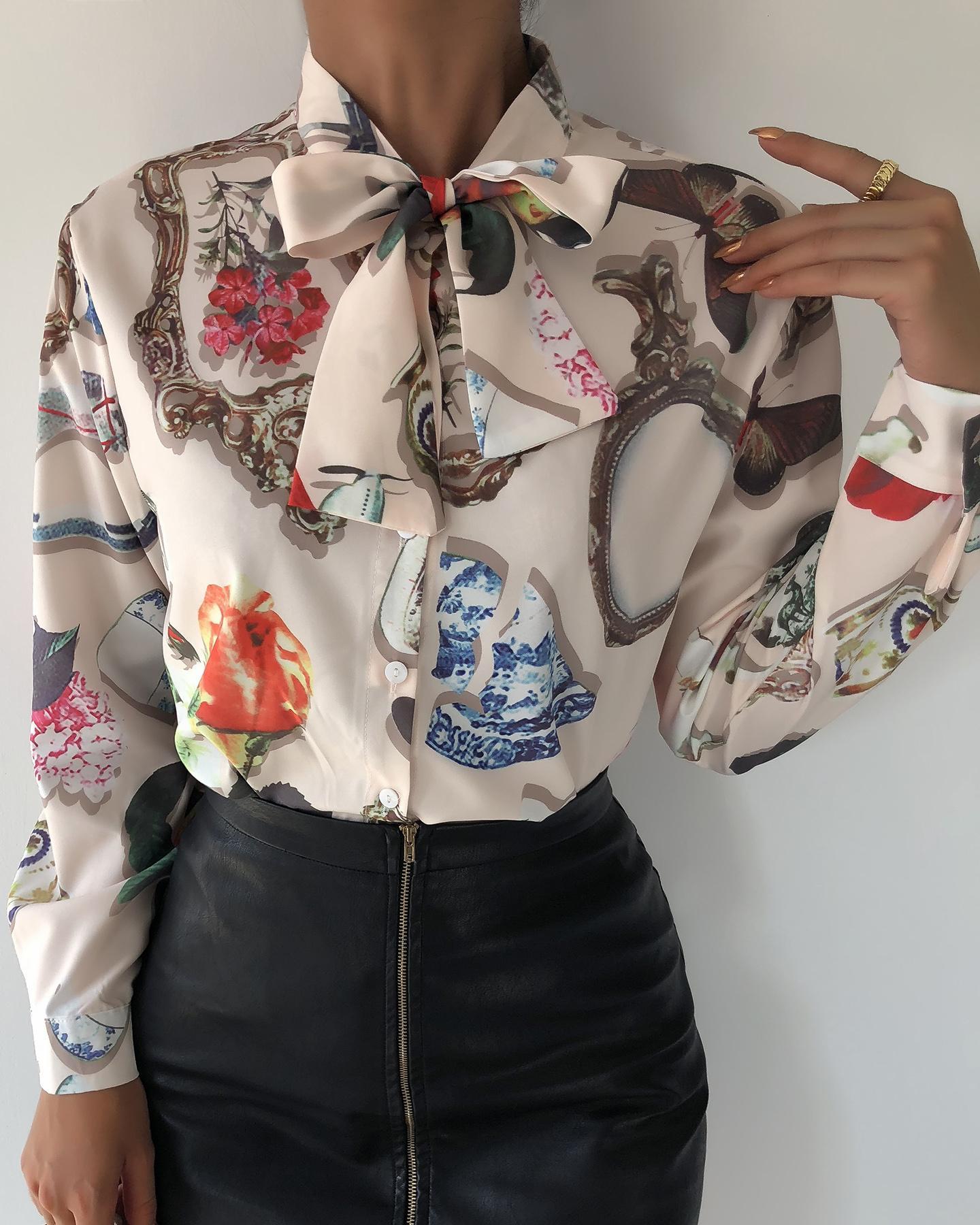 chicme / Camisa de manga comprida com estampa floral de pescoço gravata