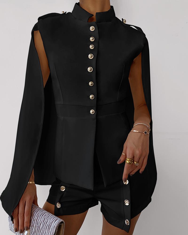 Buttoned Cloak Design Top & Shorts Set фото