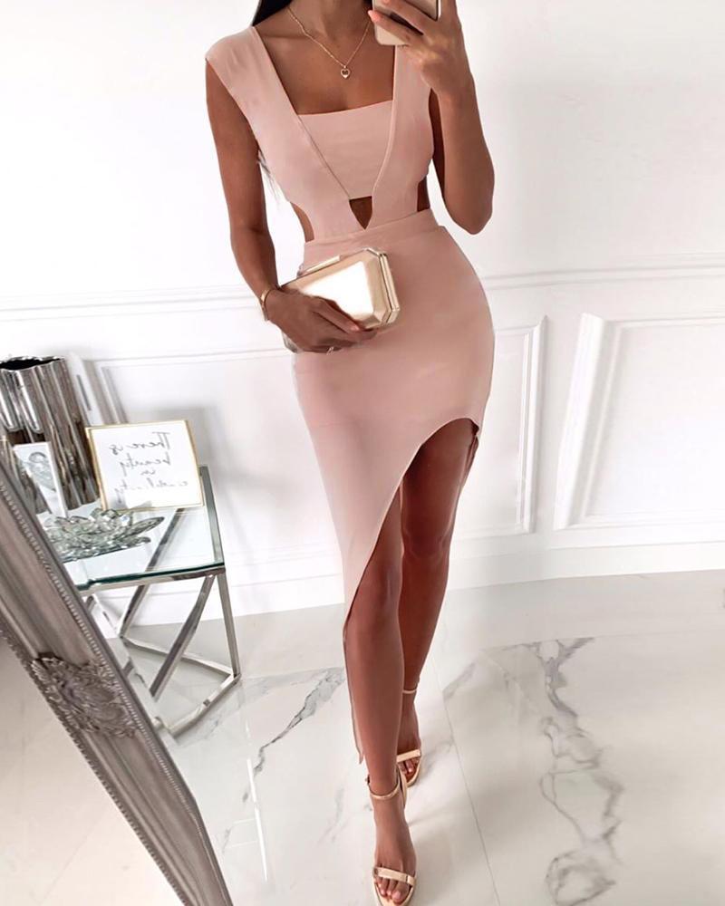 boutiquefeel / Vestido ajustado con abertura en la cintura y abertura irregular