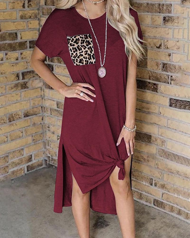 Leopard Print Pocket Slit Casual Dress фото