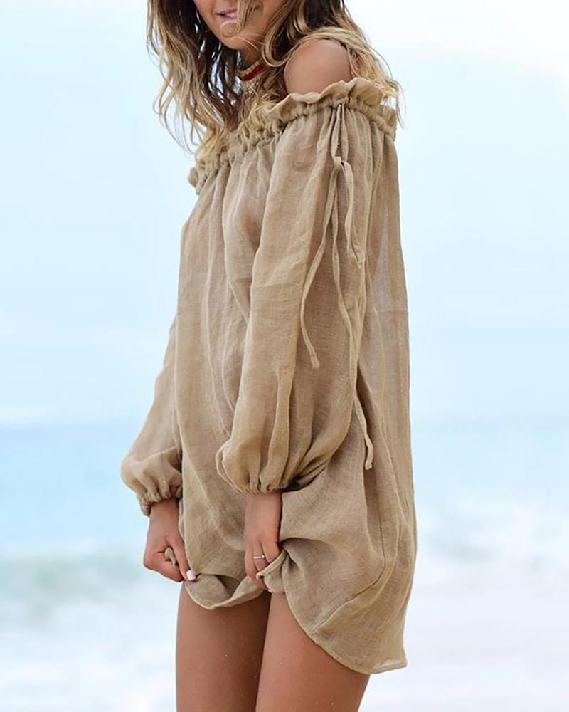 Off Shoulder Long Sleeve Cover Up фото