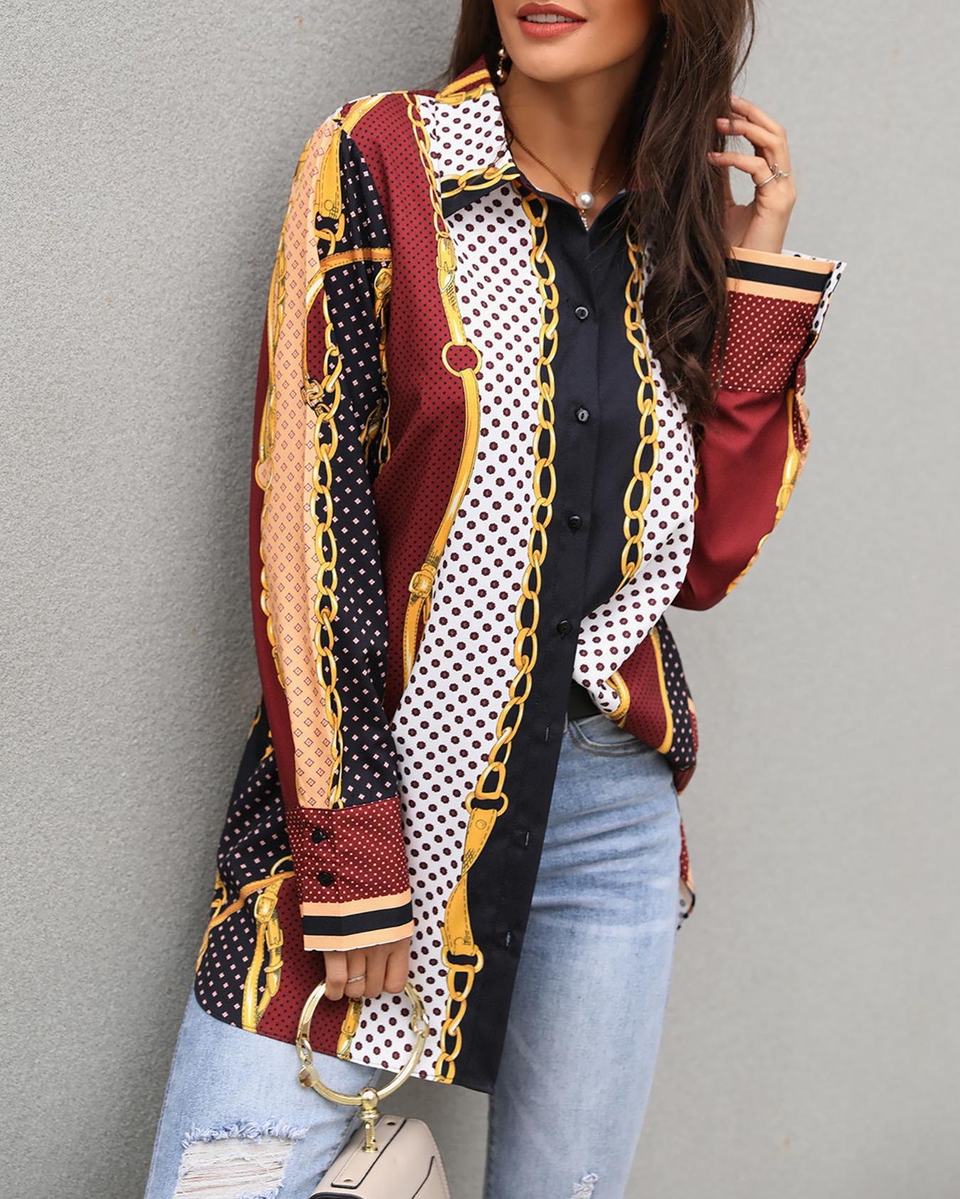 Mixed Chains Print Button Up Blouse, Multicolor