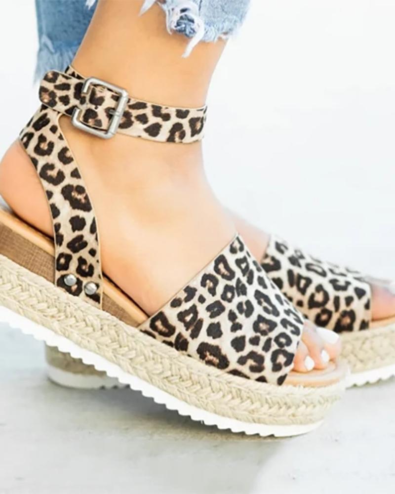 Peep Toe Slingback Espadrille Platform Sandals