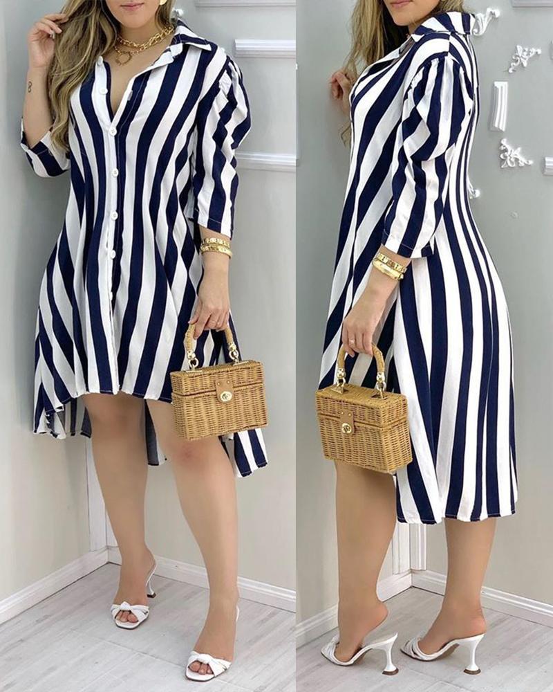 ivrose / Striped Colorblock Dip Hem Shirt Dress