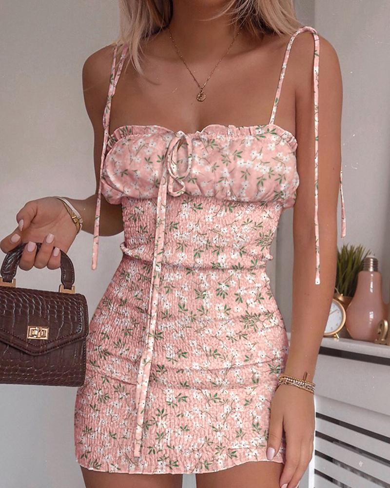 chicme / Vestido fruncido con tirantes finos y estampado floral