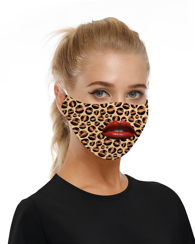 Lip Leopard Print Mouth Mask Breathable Washable And Reusable фото
