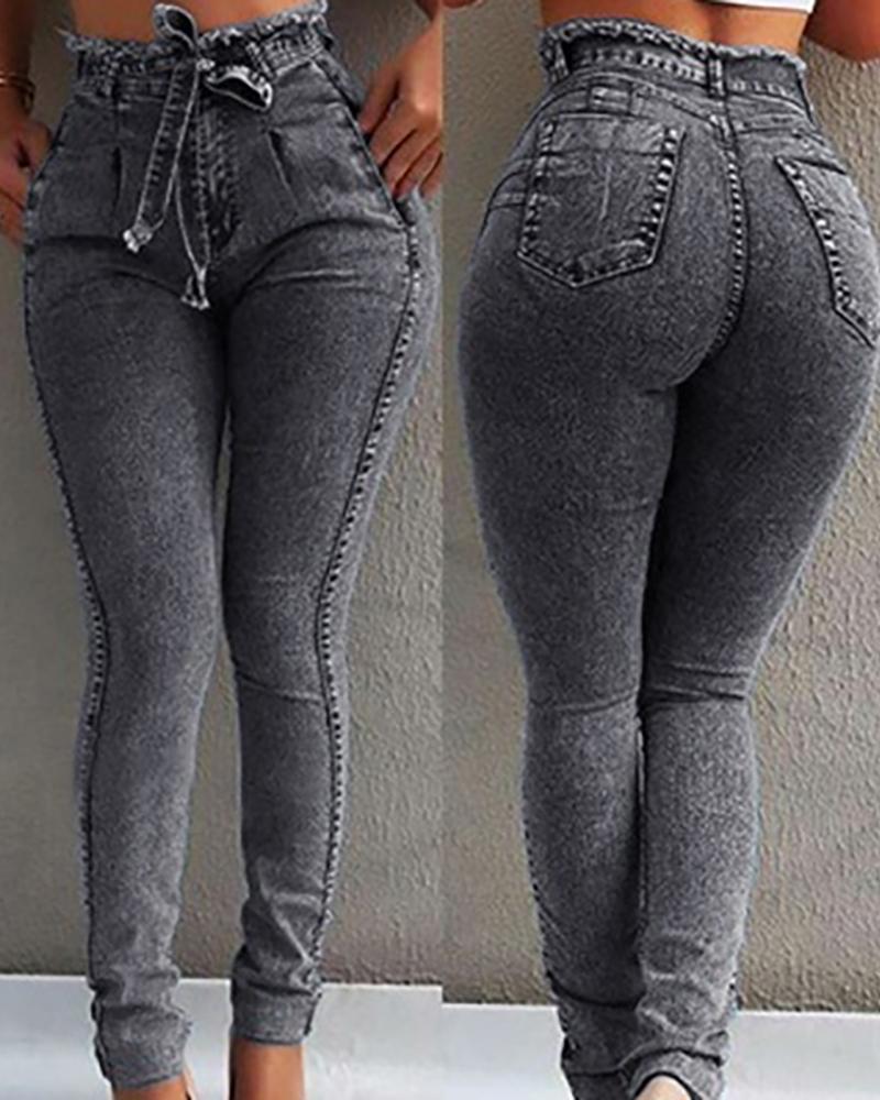 ivrose / Sólido Cintura Alta Paperbag Jeans Cintura