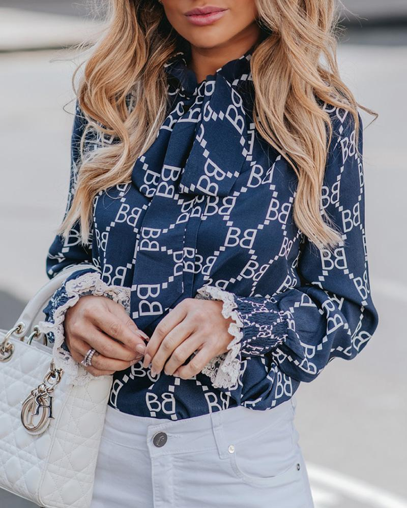 Print Lace Shirring Cuff Tied Neck Blouse фото