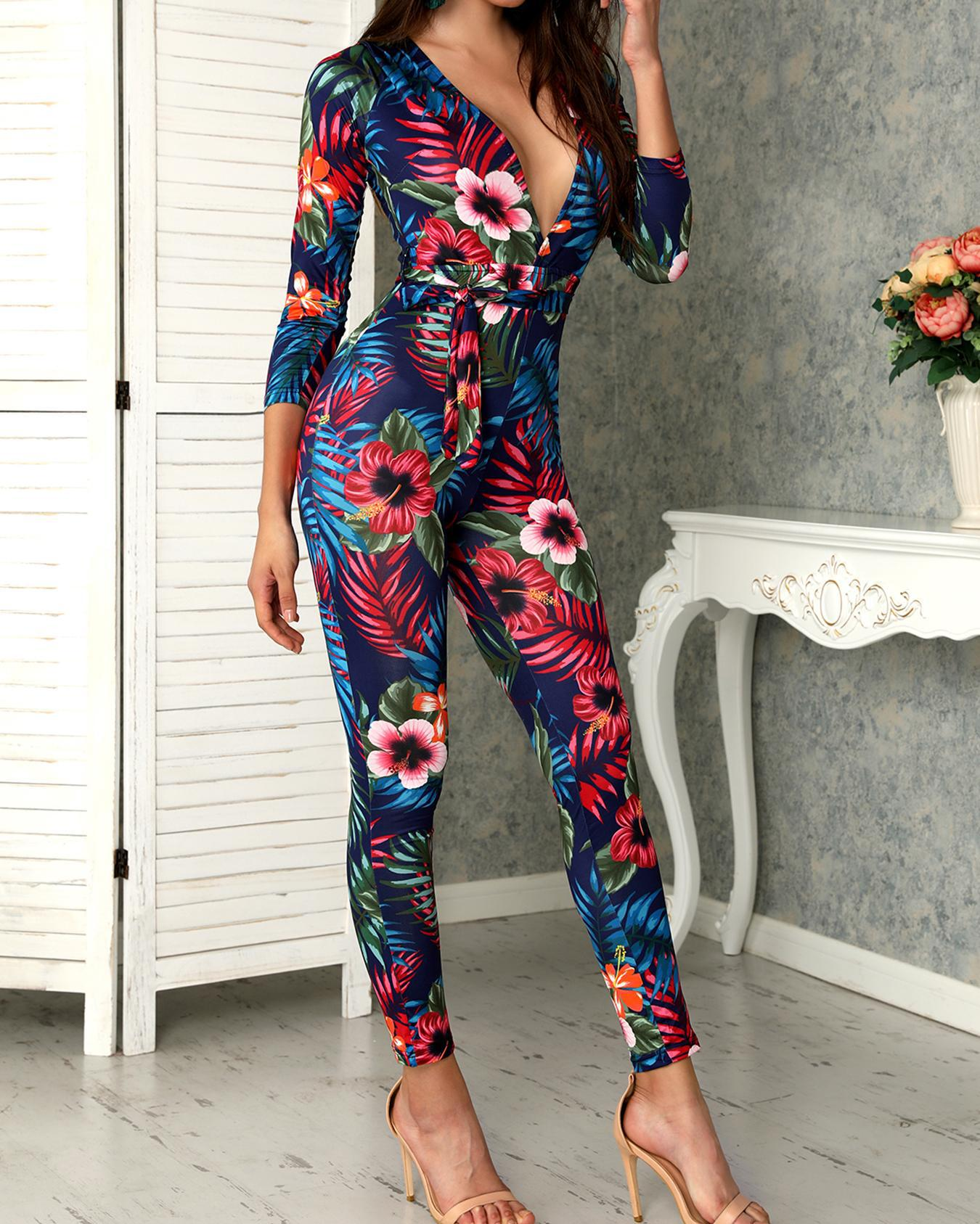 Sexy Deep V Tropical Floral Skinny Jumpsuit фото