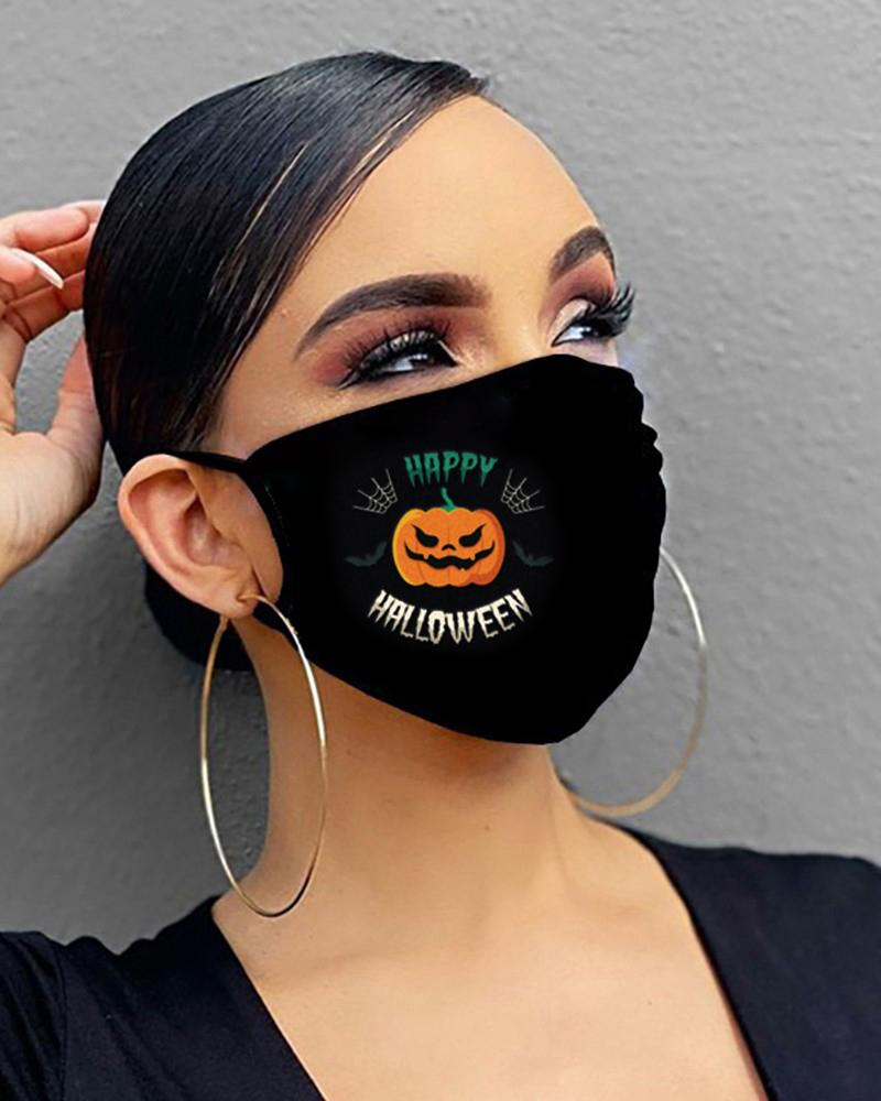 Halloween Skull / Letter / Pumpkin Print Breathable Mouth Mask фото