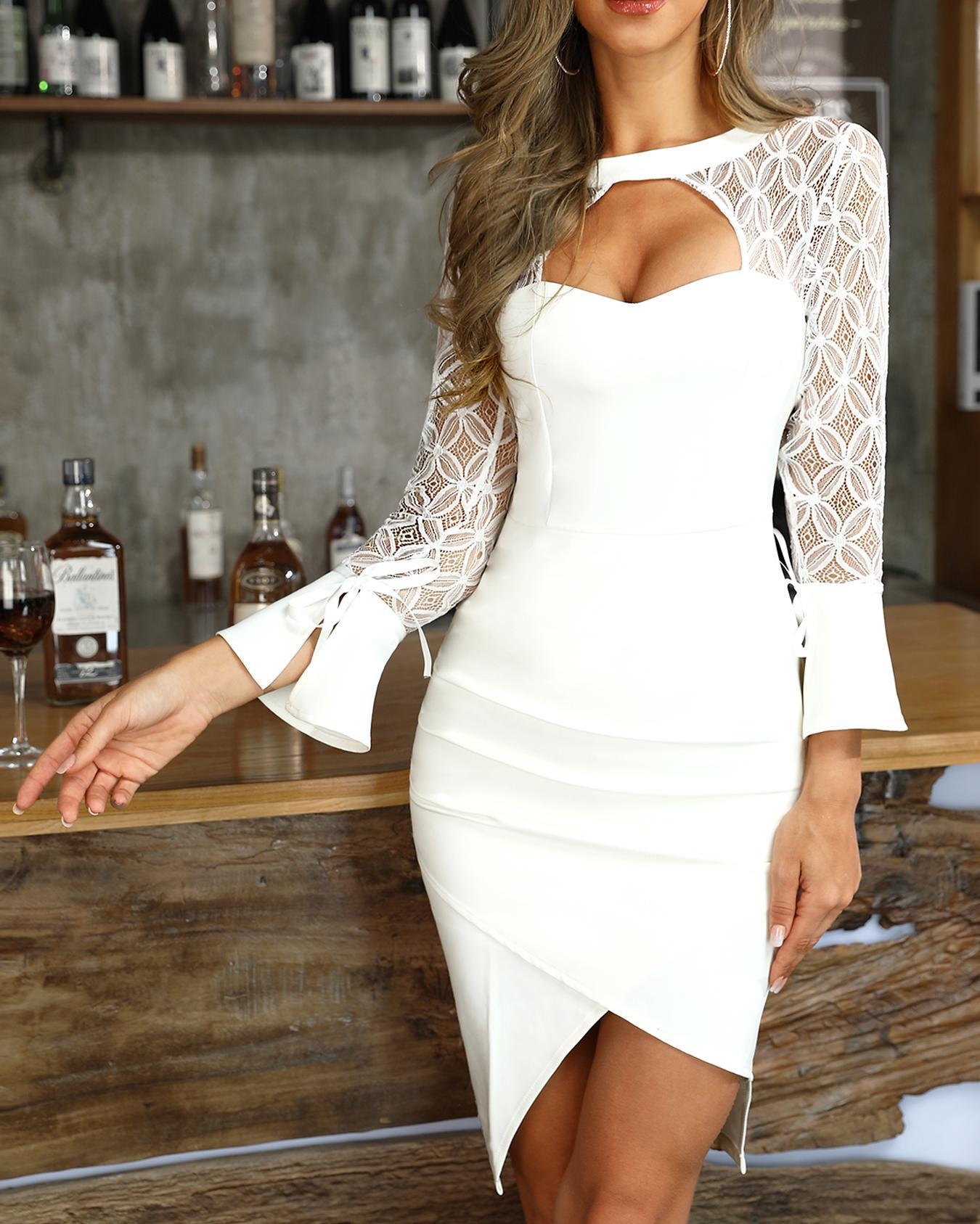 Lace Insert Cutout Bell Cuff Bodycon Dress, White