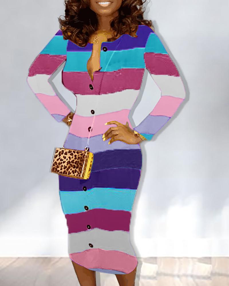 Rainbow Striped Long Sleeve Dress фото