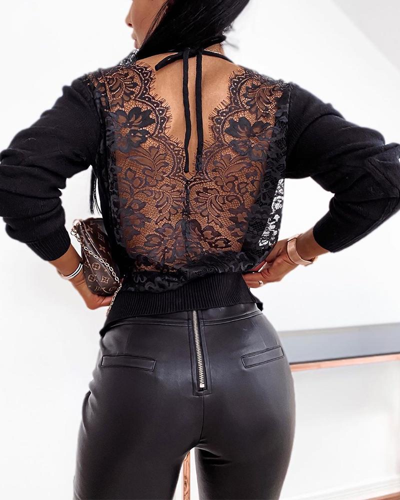 Backless Solid Lace Stitching Blouse фото
