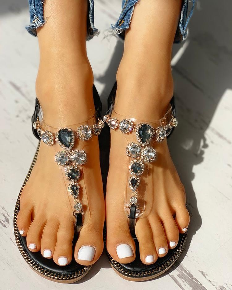 Rhinestone Embellished Casual Flat Sandals