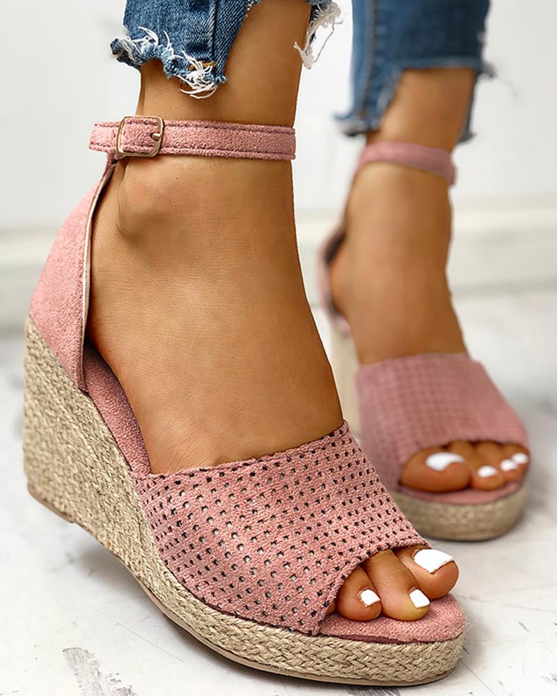 Ankle Strap Espadrille Wedge Sandals, Pink