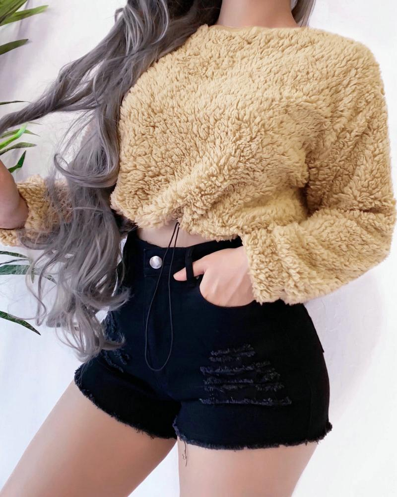 Solid Long Sleeve Crop Teddy Fluffy Sweatshirt фото
