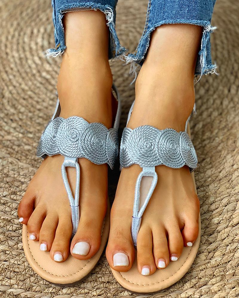Toe Post Boho Style Flat Sandals фото