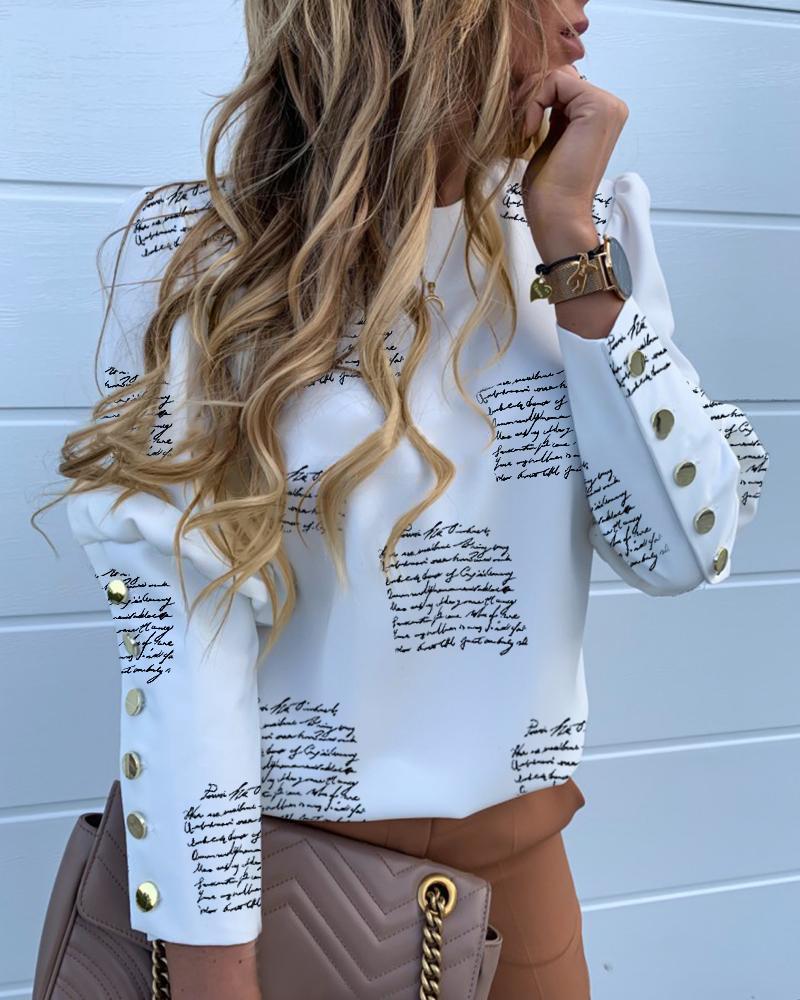 chicme / Blusa con cuello redondo y estampado de letras