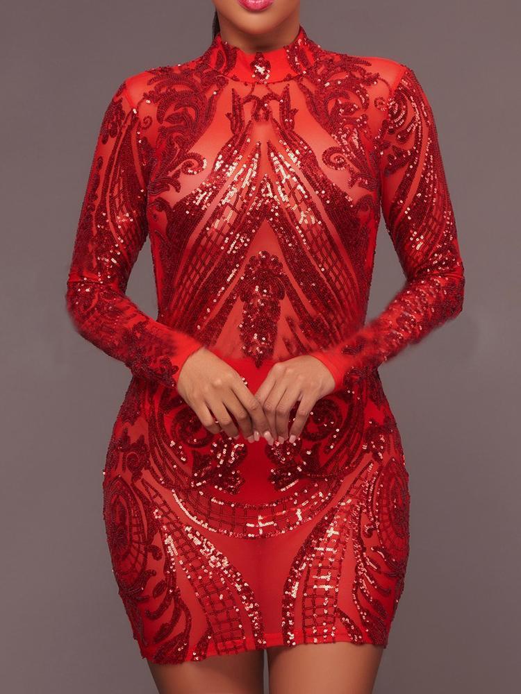 Сверкающие Блестками Bodycon Мини-Платье
