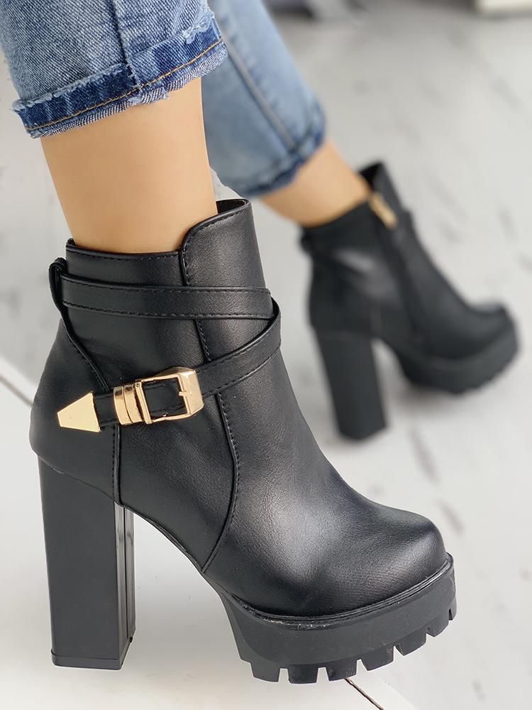 Metallic Buckled Design Chunky Heeled Boots