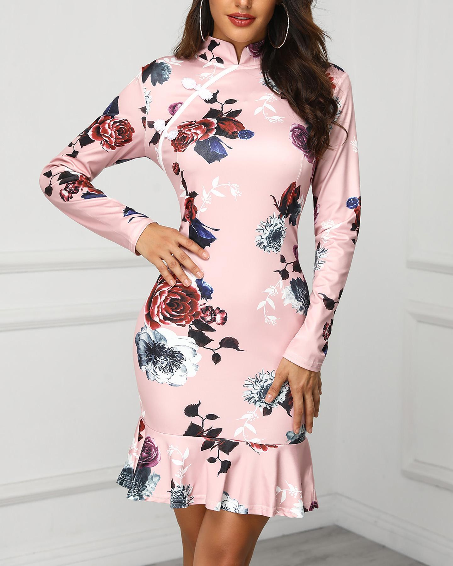 Floral Print Ruffles Bodycon Dress
