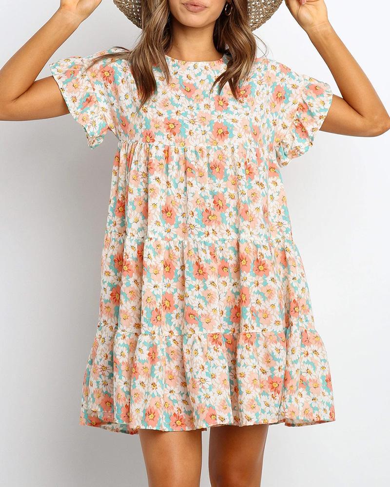 Floral Print Ruffles Mini Dress фото
