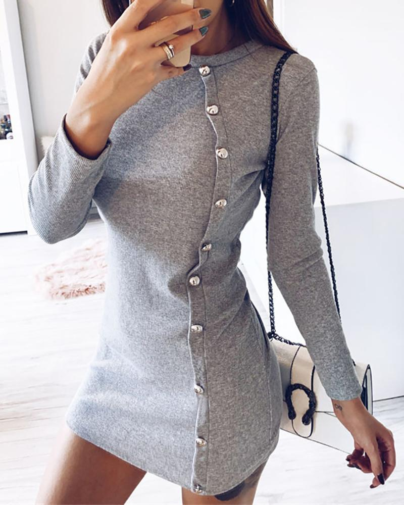 chicme / Solid Oblique Single Breasted Design Dress