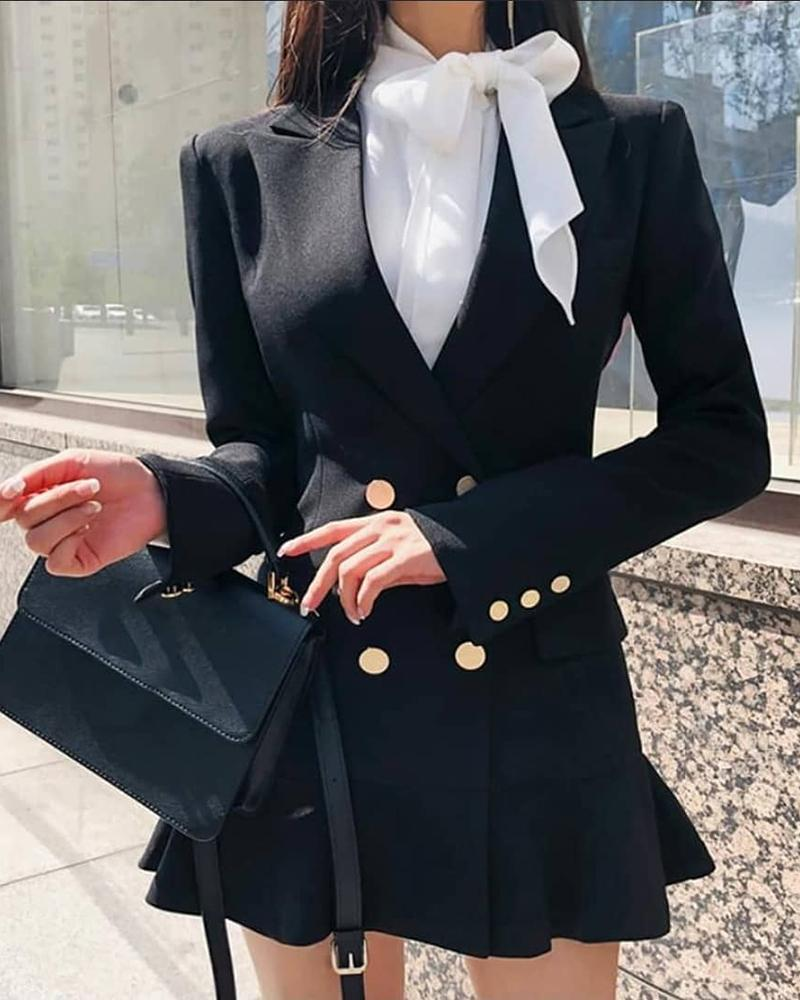 Double Breasted Pocket Design Ruffles Blazer Dress фото