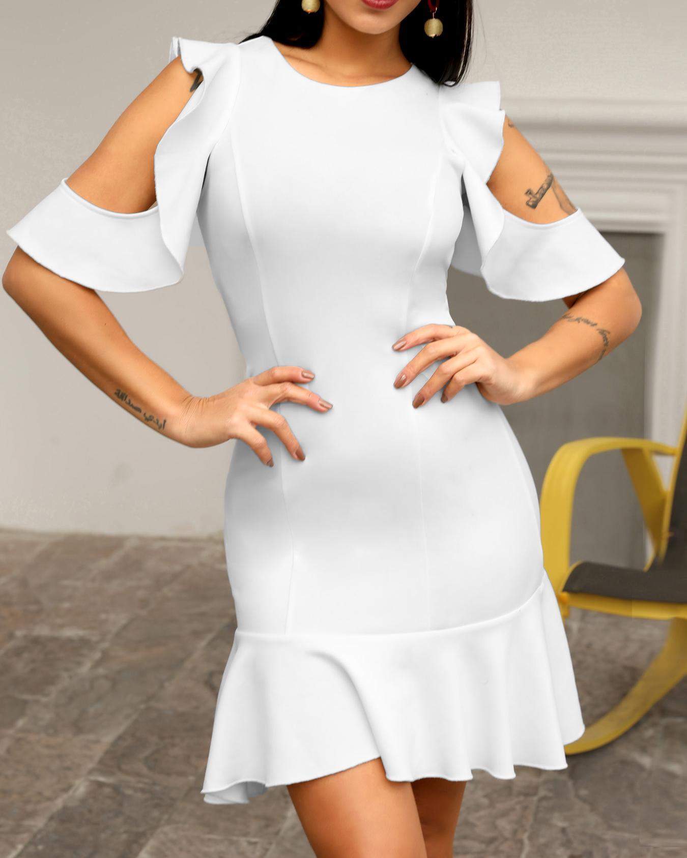 joyshoetique / Ruffles Cold Shoulder Pep Hem Bodycon Dress